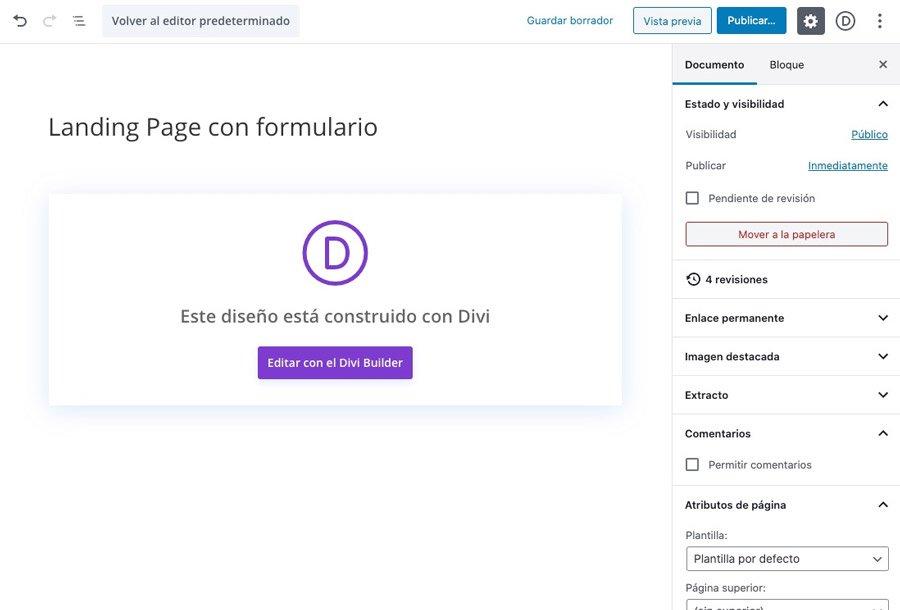 Crear nueva página para landing page creada con Divi