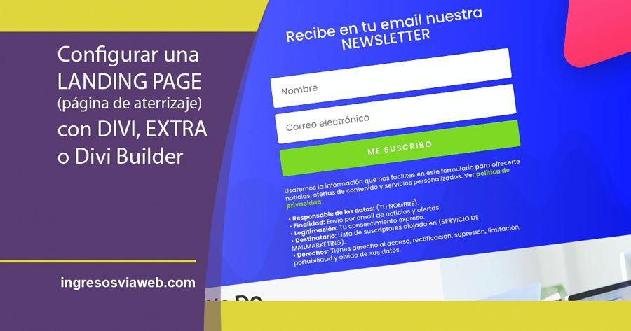 landing page creada con DIVI, EXTRA o DIVI BUILDER