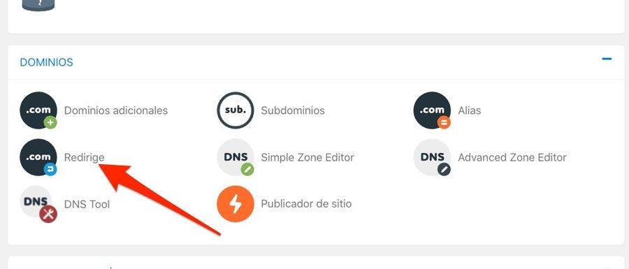 Opción del servidor para redirigir un dominio