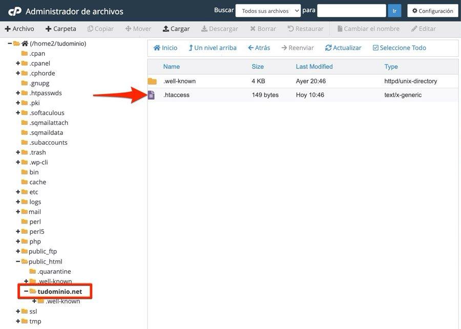 Redirigir un dominio alojado en el servidor con .htaccess