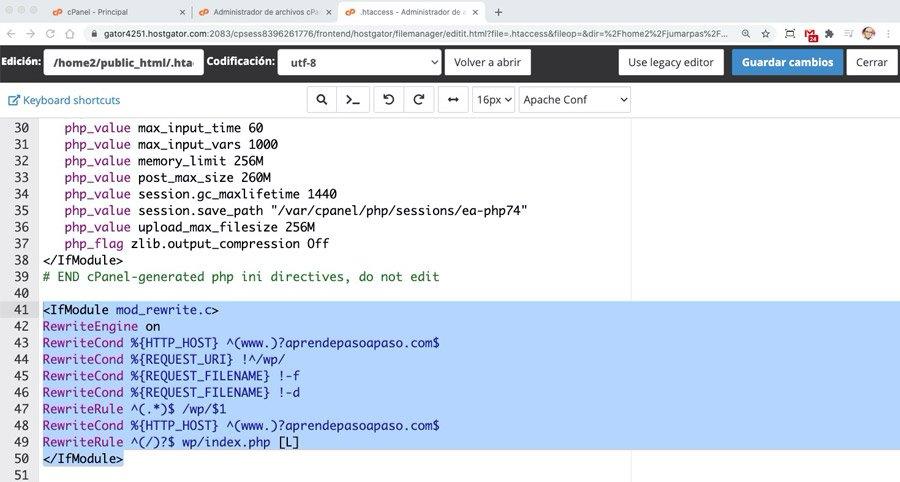 código para apuntar dominio principal a una carpeta en htaccess