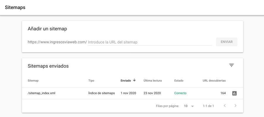 Añadir sitmap.xml en Search Consle