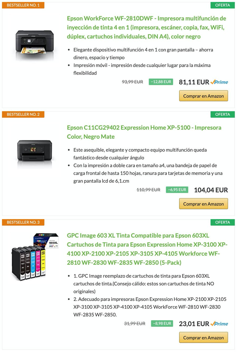 Productos en oferta con el plugin AAWP en bestseller