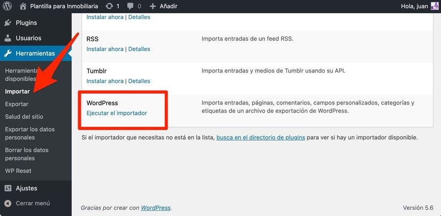 Importar contenido de demostración de plantillas de WordPress para inmobiliarias con el importador de WordPress