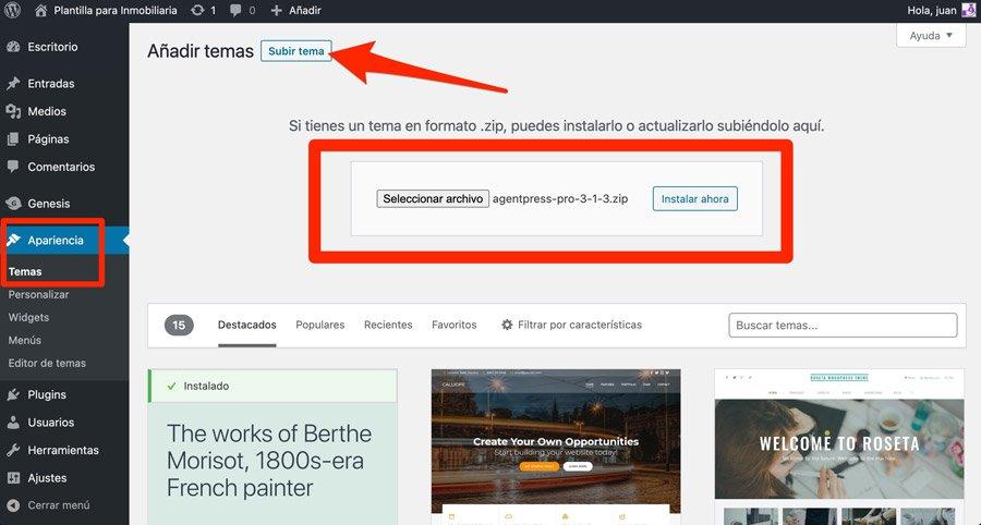 plantillas de WordPress para inmobiliarias desde la administración