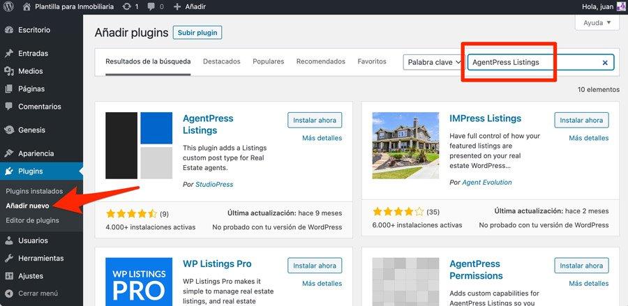 Instalar plugins para plantillas de WordPress para inmobiliarias