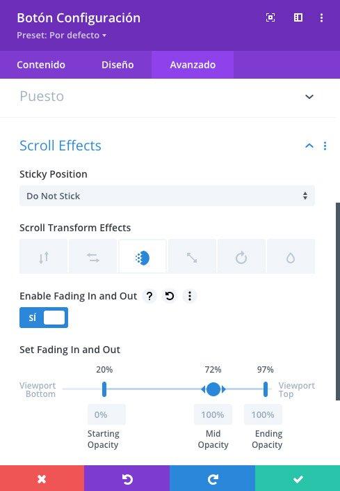 Opciones y efectos de scroll