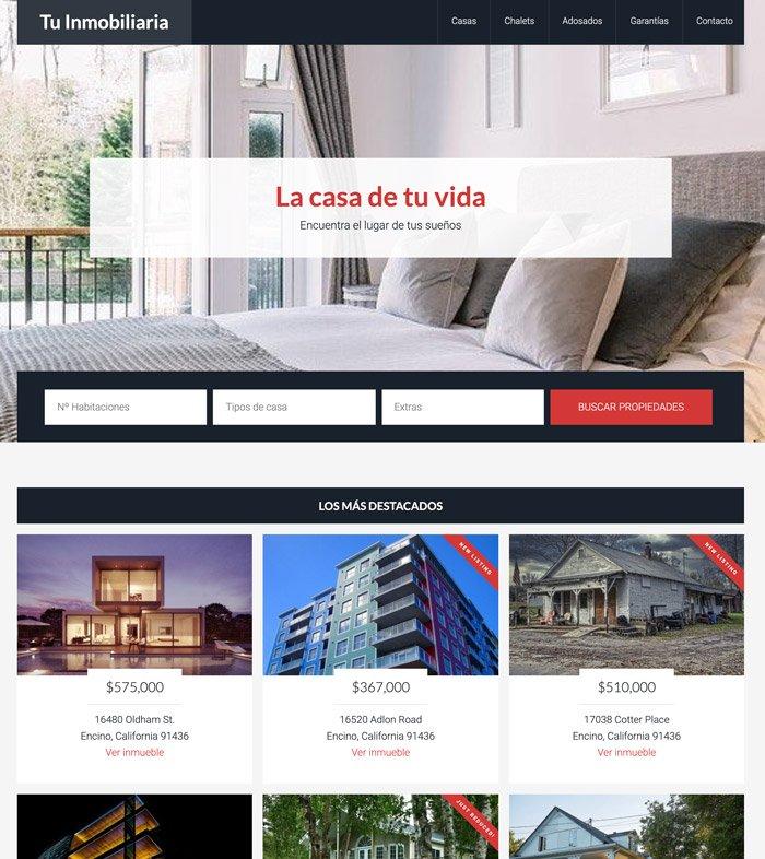 Homo de una web de inmobiliaria