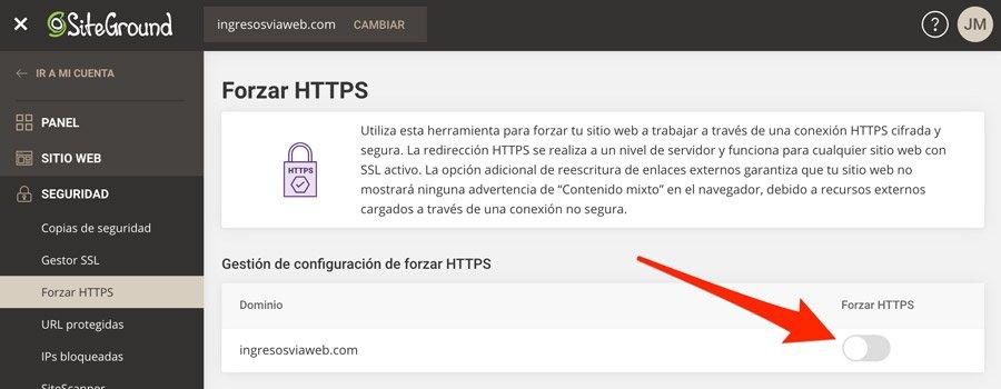 Opción de desactivar HTTPS en SiteGround