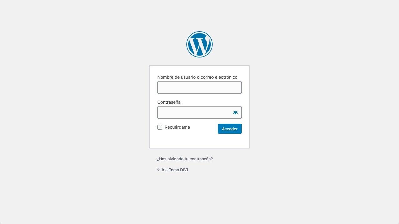 Típico formulario de acceso a WordPress