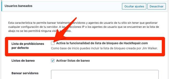 Desactivar lista negea de usuarios baneados en iThemes