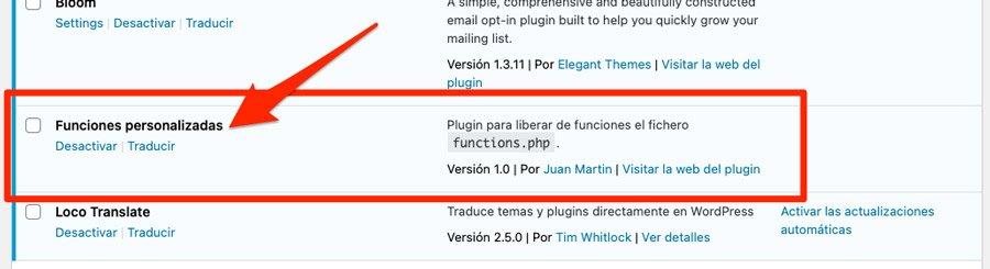 Información mostrada en la lista de plugins instalados