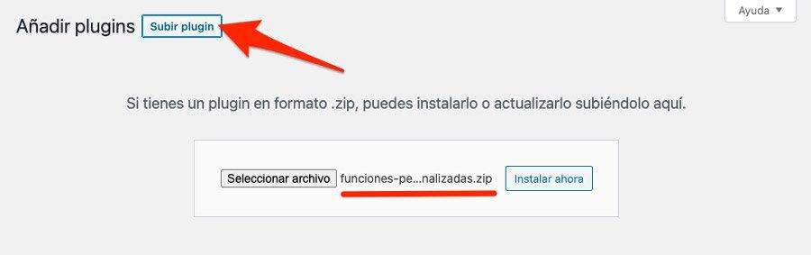 subir plugin para añadir funciones personalizadas en WordPress