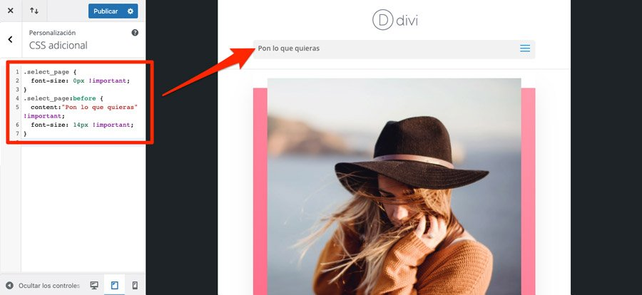 """modificar en el menú Divi """"Seleccionar página"""" con CSS"""