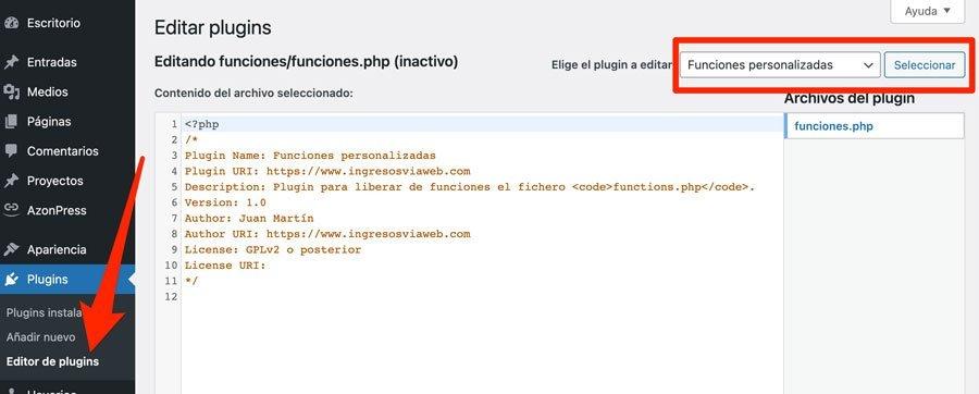 Editando el plugin de funciones personalzadas en WordPress