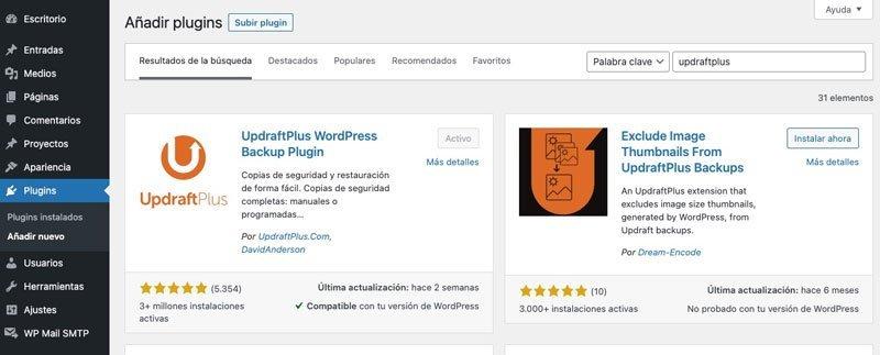 Búsqueda de UpdraftPlus en WordPress