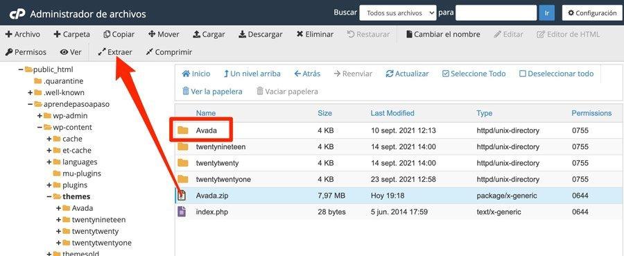 Descomprimir tema premium instalado en WordPress