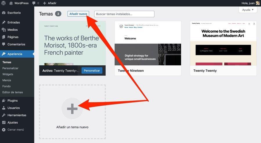 Subir tema premium desde la administración de WordPress